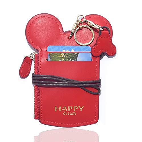 Cute Red Leather Lanyard ID Card Badge Holder With Coin Wallet Purse For School Students Women Kids Teens Girls Work Office