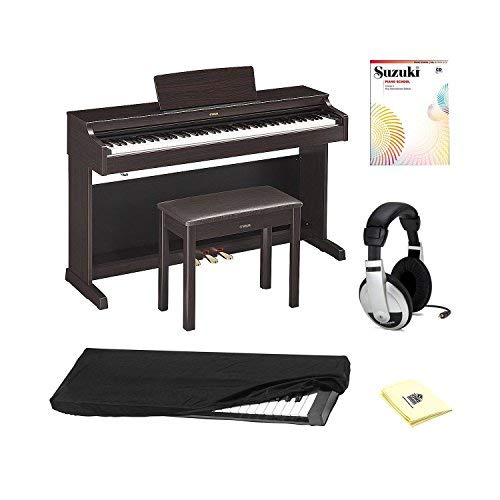 Yamaha YDP163R 88 key Traditional Console Home Digital Piano with Piano Bench, New International Edition Piano Book+CD (Vol-1), Stereo Headphones, Dust Cover and Zorro Sounds Piano Polishing Cloth