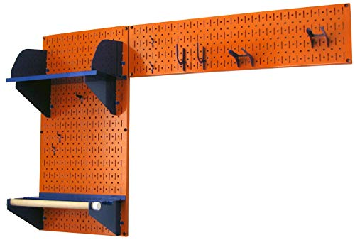 Wall Control 30-GRD-200 ORBU Pegboard Garden Supplies Storage and Organization Garden Tool Organizer Kit with Orange Pegboard and Blue Accessories from Wall Control