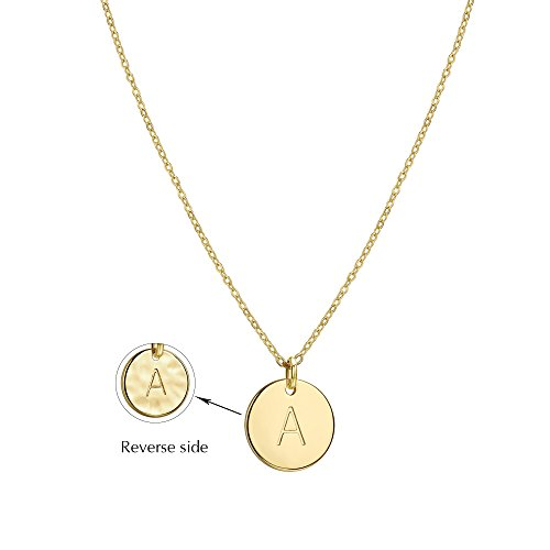 Befettly Hammered Necklace Pendant 14K Gold-Plated Round Disc Double Side Engraved Initial Pendant 17.5'' Adjustable Necklace with Personalized Alphabet Letter (Gold Hammered Disc)