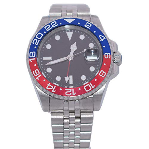 Parnis 40mm Black Sterile Dial Sapphire Crystal Blue Red Bezel GMT Function Automatic Movement Men