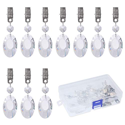 (Swpeet 10Pcs Earring Tablecloth Weights with 10Pcs Metal Clip Kit, Crystal Glass Teardrop Prisms Pendant Tablecloth Weights for Picnic Tables Tablecloth Weights Heavy Outdoor (Earrings))
