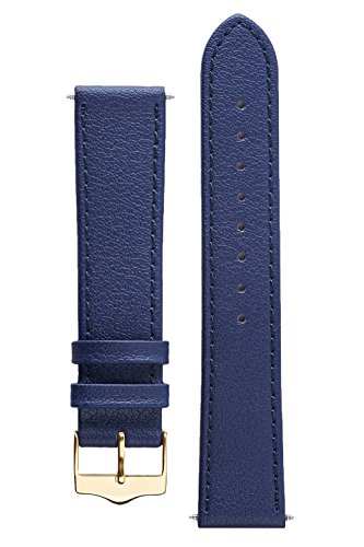 Price comparison product image Signature Seasons in Blue 24 mm watch band. Replacement watch strap. Genuine leather. Gold Buckle