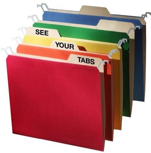 FindIt Tab View Hanging File Folders, Letter Size, 5 Color Assortment, 20 Folders per Pack (FT07134)