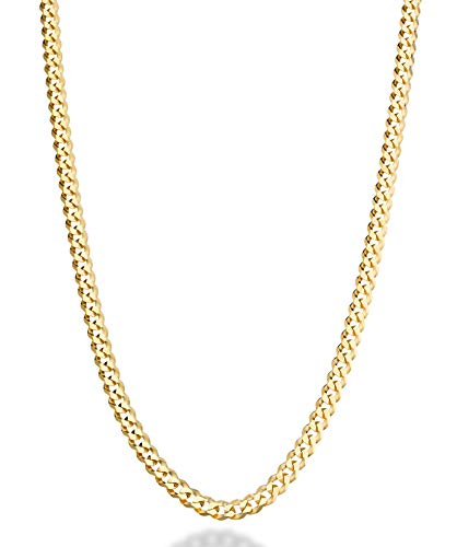 - MiaBella Solid 18K Gold Over Sterling Silver Italian 5mm Diamond-Cut Cuban Link Curb Chain Necklace for Women Men, 16