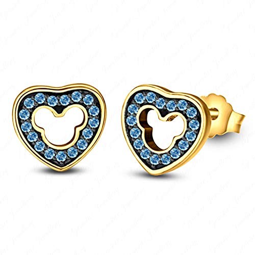 Gemstar Jewellery Disney Mickey Mouse Heart Earrings 14Kt Yellow & Black Gold Finish Round Cut Aquamarine ()