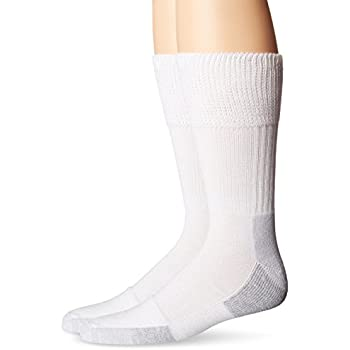 Dr. Scholl's Men's 2 Pack Non-Binding Diabetes and Circulatory Odor Resistant Crew Socks, White, Shoe Size: 7-12
