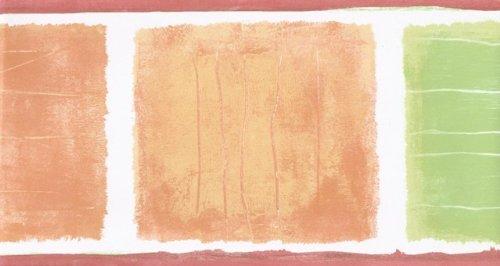 Orange Green Squares Wallpaper Border 78160 CT - Orange Flower Wallpaper