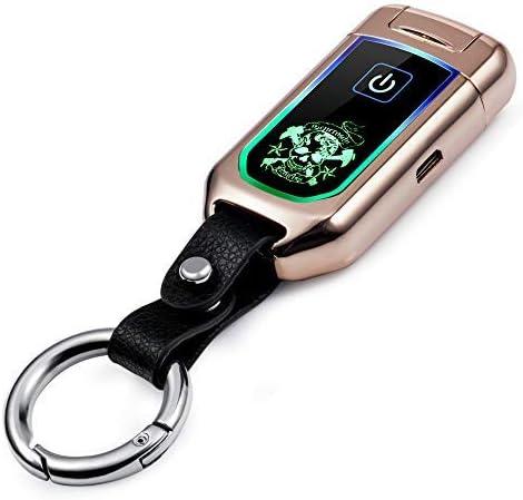 FiveBlack Briquet électrique USB Rechargeable, Double Arc Coupe-Vent sans Flamme cigares briquets Simple et délicat Design Porte-clés Idée Cadeau pour Homme