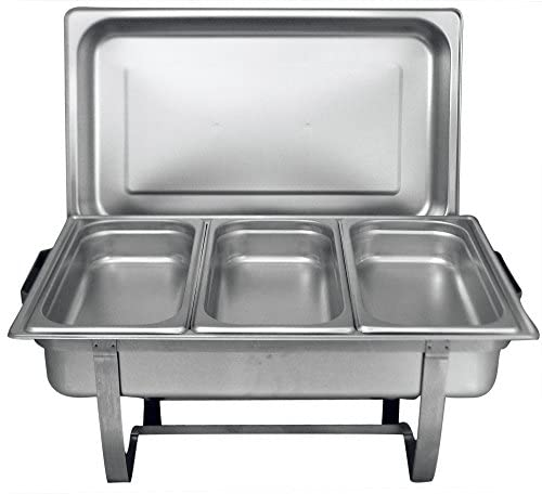 Tiger Chef 8 Quart Full Size Stainless Steel Chafer 3 1 3rd Size Chafing Food Pans and Cool-Touch Plastic on top 1, Full Size with 1 3rd Inserts warming trays for buffets