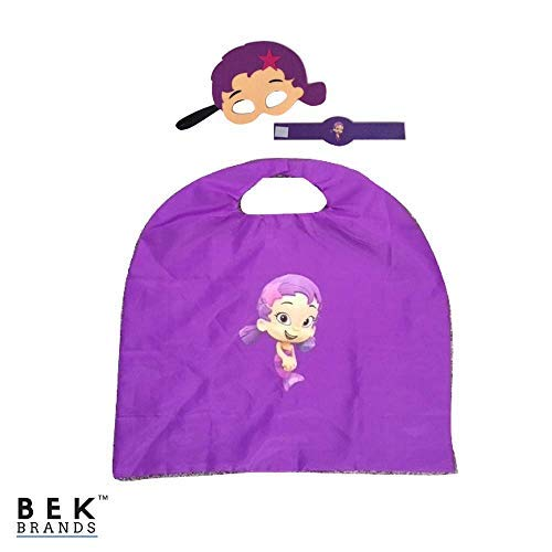 Bek Brands Bubble Guppies Kids Cape and Mask Set | Halloween Costume, Dress Up Play, Superhero Cape, Mask (Oona)
