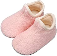 L-RUN Baby Boys Girls Wool Like House Slippers Kids Light Weight Anti-Skid Shoes for Outdoor Indoor Comfy Loaf