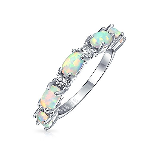 White Opal Thin (Thin Oval Synthetic White Opal CZ Half Eternity Band Rhodium Plated Silver Ring)