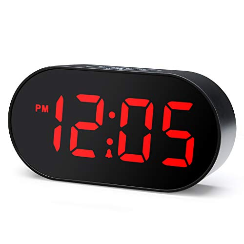 Alarm Clock with Dimmer and Snooze, 2 Level Alarm Volume Optional, Large Red Digit Display Bedside Desk Clock with USB Port Phone Charger, Stay Lit, Simple Operation (Black) ()