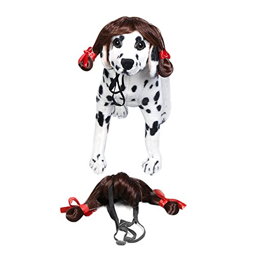 Yunt Pet Dog Pigtail Wig Applied to Dogs' Dressing Up and Parties on the Festival Dog Wigs for Dogs Brown -