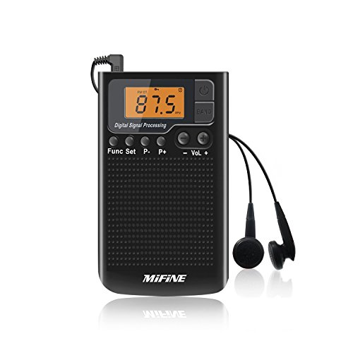 Portable AM FM Radio Rechargeable- Multifunctional Mini Radio Clear Spesker Music Player and Alarm Clock and Timer with Earphone by Mifine