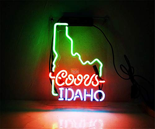 New Star Neon Sign Factory 14X9 Inches Real Glass Neon Sign Light for Beer Bar Pub Garage Room Coor Light Idaho.