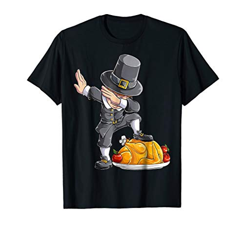 Thanksgiving shirts for Kids Dabbing Pilgrim Boy Dab Turkey