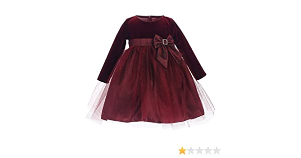 d75ffdb89 Amazon.com: Lito Baby Girls Burgundy Stretch Velvet Glitter Tulle Christmas  Dress 6-24M: Clothing