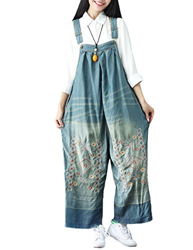 SUGIRLS Women's Casual Plus Size Vintage Embroidery Bib Overalls Wide Leg Harem Denim Jumpsuit Pants Style 1 Print Vintage Bib