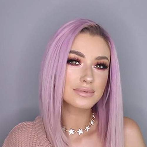 GHHJ Two-Color Gradient Partial Light Purple ,Short Straight Hair,Natural Looking,Heat Resistant Hair,Cosplay Costume Daily Wigs (Dark Purple Red Light Coffee