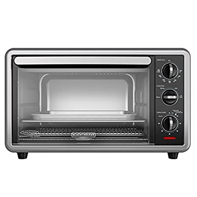 BLACK+DECKER TO1216B 6-Slice Convection Countertop Toaster Oven, Includes Bake Pan, Broil Rack & Toasting Rack, Black Convection Toaster Oven
