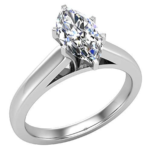 0.75 carat I SI Marquise Cut Diamond Engagement Ring for women 14K White Gold 6-prongs Solitaire Setting (Ring Size 4.5)