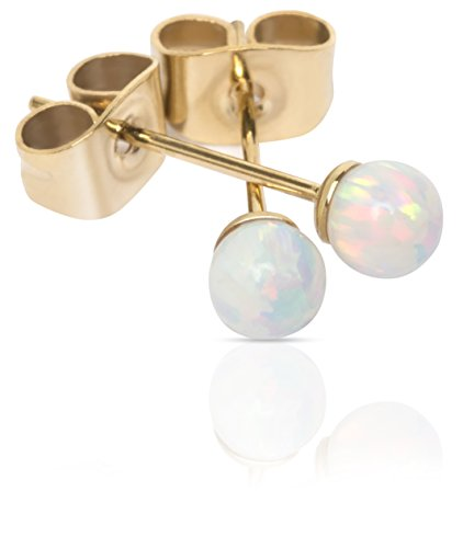 Opal Stud Earrings with 4mm Fiery White Opal Ball Studs Real 14k Plated Gold by Benevolence - So Real It Is