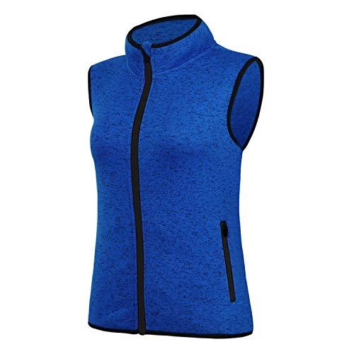 - SPOEAR Zip Up Womens Vest with Zipper Pockets Athletic Sweater Fleece Vest Sleeveless Sweater Jacket(Blue,XL)