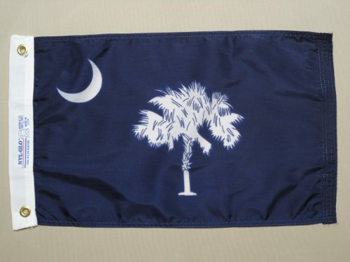 South Carolina State Tree - South Carolina 1861 State Indoor Outdoor Dyed Nylon Boat Flag Grommets 12