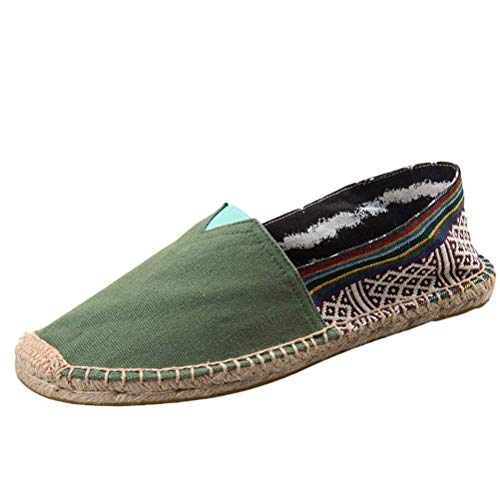 on on 5 5 5 ZHRUI Sneakers 5 Green Traspirante in Dimensione on Slip Shoes Unisex Style Colore Flats Canvas UK Slip Espadrille 66wrTvq8Z