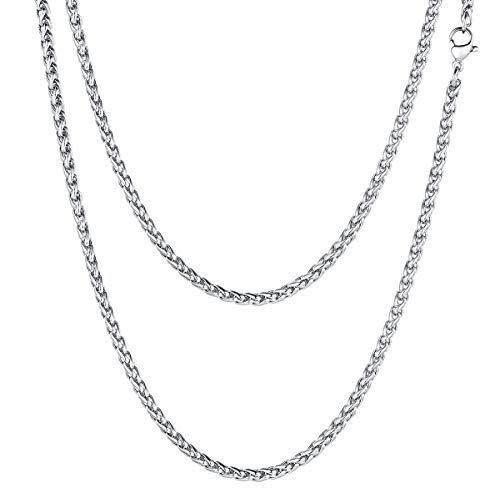 FOCALOOK Rope Wheat Chain 3mm Boys Mens Womens Fashion Jewelry 316L Stainless Steel Silver Color Spiga Chain Layering Neck Link Necklace, Wear Alone or with Pendant, 20 Inches ()