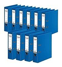 Falken - Archivador de plástico (10 unidades, interior y exterior de 8 cm de ancho, DIN A4), color azul