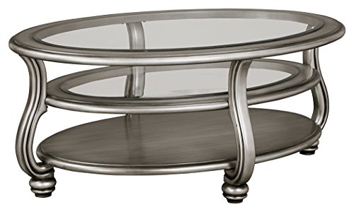Ashley Furniture Signature Design - Coralayne Coffee Table - Stylish Ocassional Cocktail Table - Silver (Cocktail Table Finish)