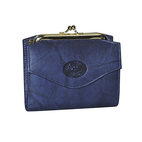 Purse Accordion Wallet (Buxton Womens Genuine Leather Heiress French Accordion Purse Wallet,Navy-Blue,One Size)