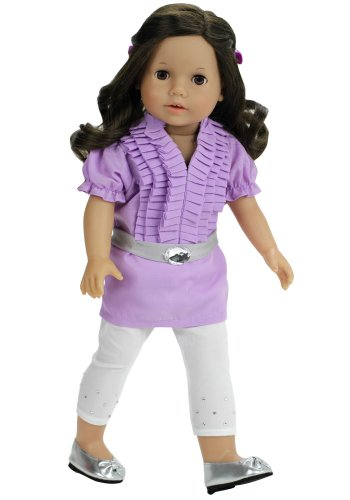 Sophia's 18 Inch Doll Clothes 3 Pc. Outfit Fits American Girl Dolls of Lavender Ruffle Doll Blouse, Stretch Lycra Rhinestone Doll Leggings & Belt, (Ruffle Blouse Set)