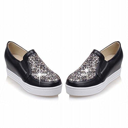 Latasa Femmes Mode Paillettes Plateforme Slip-on Mi-talon Coin Mocassins Chaussures Noir