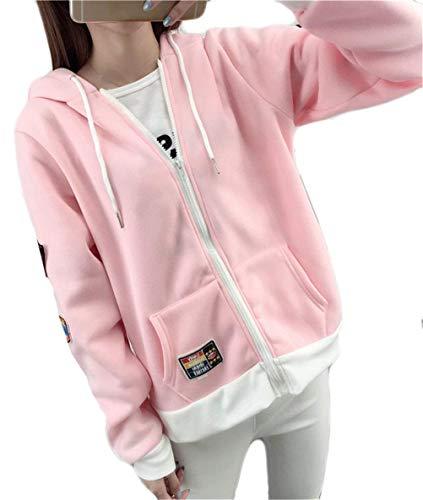 Mujer Chaqueta Outwear Joven Capucha Especial Abrigos Primavera Capa Rosa Casual Sweatshirts Estilo con Anchas Otoño Hoodie Basicas Deportivo Moda XqrXK8
