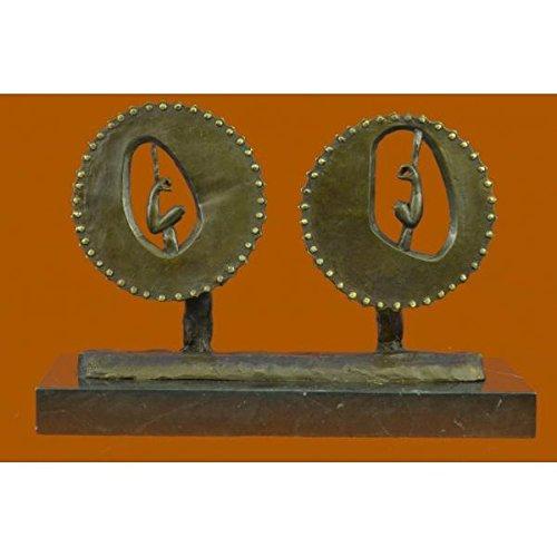EUROPEAN BRONZE Body Builder Trophy Bronze Sculpture Marble Base Figurine Figure Decor