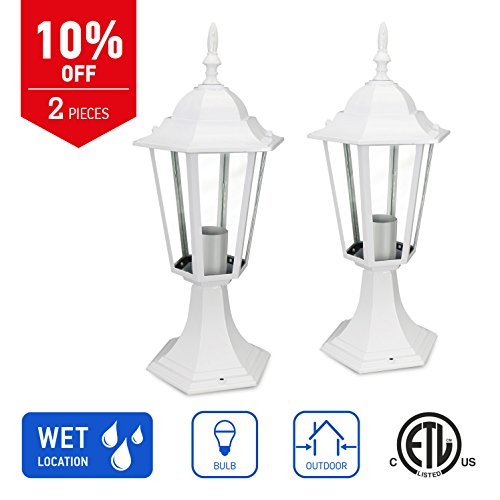 IN HOME 1-Light Outdoor Post Lantern L01 Series Traditional Design White Finish Clear Glass Shade (2 Pack), ETL Listed 1 Outdoor Post