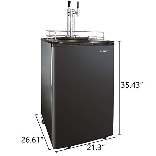 KUPPET Full Size Kegerator& Draft Beer Dispenser, Beer Kegerator, Keg Beer Cooler for Party, Compressor Cooling CO2 Regulator Casters, Dual Tap, Black, 6.0 Cu.ft. by KUPPET (Image #6)