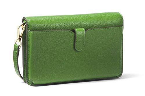 9d58fa2dd191 MICHAEL MICHAEL KORS Mercer Floral Embellished Pebbled Leather Smartphone  Crossbody (True Green)  Handbags  Amazon.com