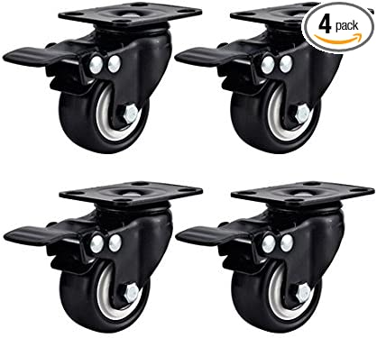 """4Pack 3/"""" Swivel Caster Wheels Rubber Base with Top Plate /& Bearing Heavy Duty"""