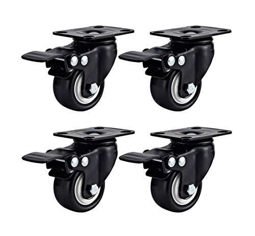 - Swivel Caster Wheels Rubber Base with Top Plate & Bearing Heavy Duty with Total Lock Brake Pack of 4 Black by Online Best Service (2