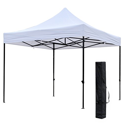 Snail 10' X 10' Outdoor Easy Pop Up Waterproof Canopy with 420D Top, Portable Event Party Shade Shelter with Carry Bag, Weighs 62 lb, White (Canopy Event)