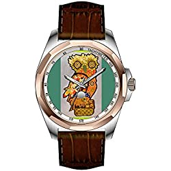 AIMS Christmas gift Mens gold Personalized Unique Fashion Design Waterproof Wrist Watch Black Leather Strap Watch with Cool Owl