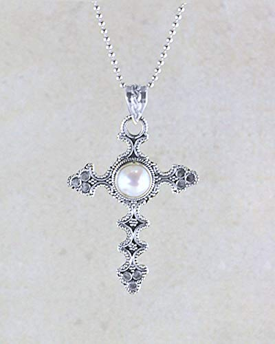 (SIVALYA Designer 925 Sterling Silver Cross Pendant Necklace With Gemstone, Exquisite hand-crafted design in Solid Silver, Makes a Great Gift for Her)