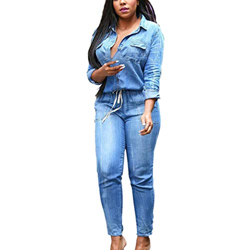 Women Elastic Cowboy Jumpsuit Jeans Casual Deep V-Neck Long Sleeves Bandage Waist Jumpsuits (5XL, Blue)