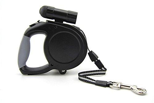 8M Black Retractable Dog Leash Lead 9 LED Flashlight Pet Collars Cord 5 8M Up to 220lbs