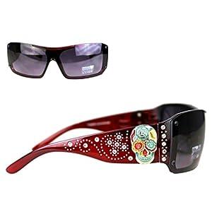 SGS-4109 Montana West Sugar Skull Collection Sunglasses UV 400 (Red, Black)